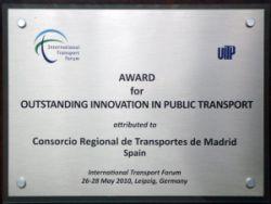 Premio Innovación en Transporte Público UITP 2010